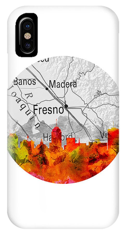 Fresno IPhone X Case featuring the painting Fresno California 15rd by Aged Pixel