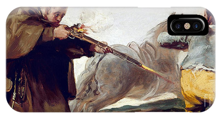 Goya IPhone X Case featuring the painting Friar Pedro Shoots El Maragato As His Horse Runs Off by Celestial Images