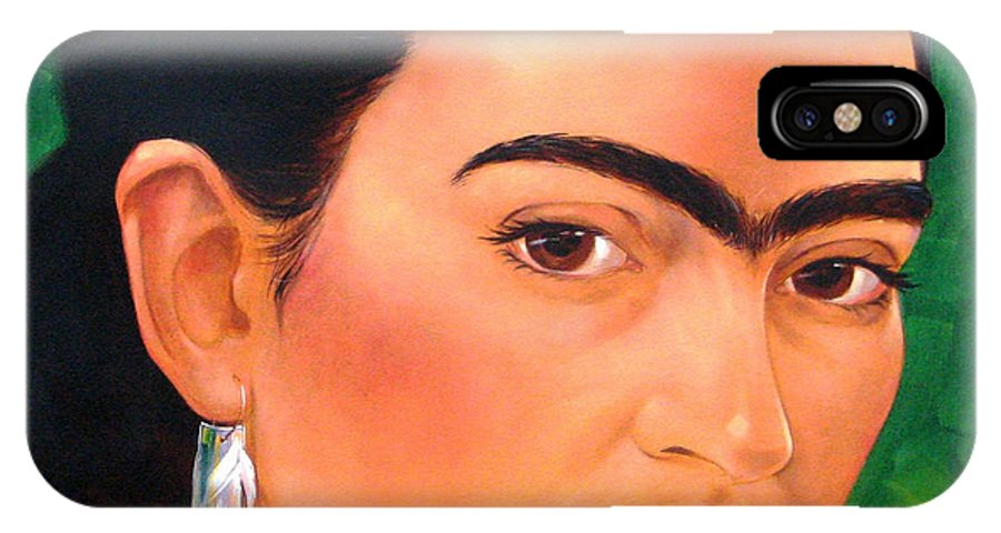 Frida Kahlo IPhone X Case featuring the painting Frida Kahlo 2003 by Jerrold Carton