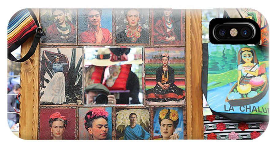 Dia De Los Muertos IPhone X Case featuring the photograph Frida Kahlo Display II by Chuck Kuhn