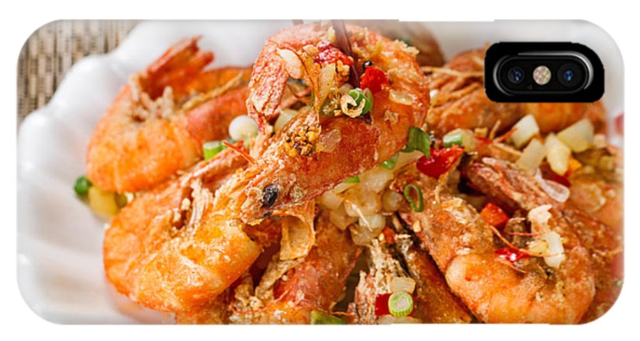 Shrimp IPhone X Case featuring the photograph Fried Bread Coated Shrimp And Garnishes On White Serving Plate R by Thomas Baker
