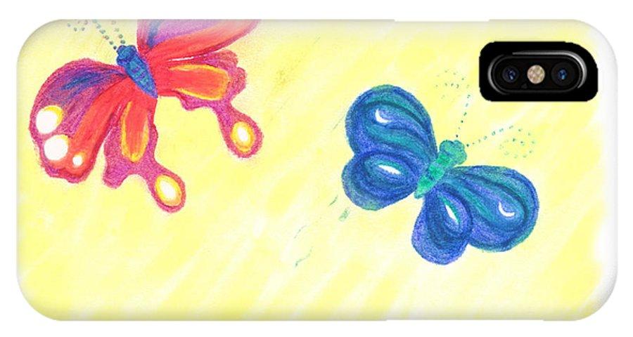 Butterflies IPhone Case featuring the pastel Friends by Chandelle Hazen
