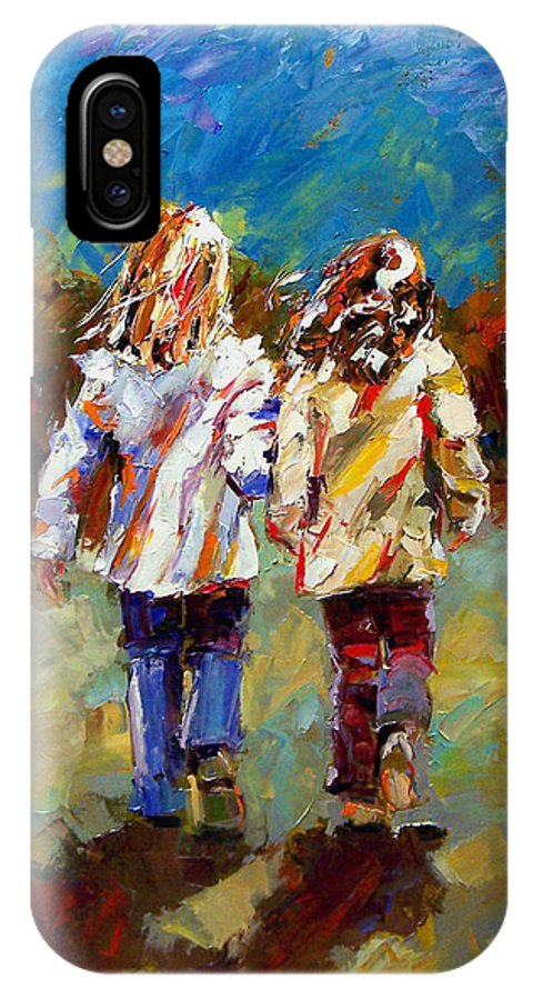 Girls IPhone Case featuring the painting Friends Forever by Debra Hurd