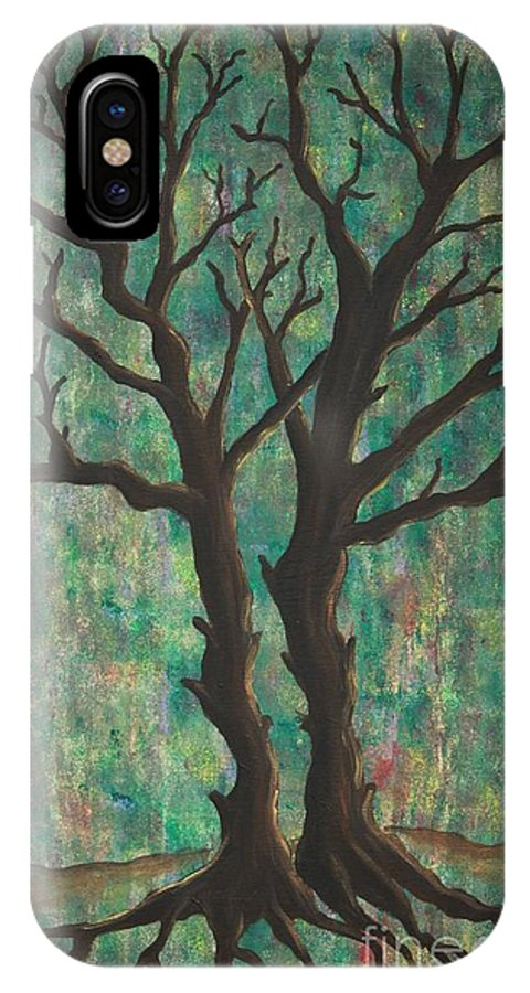 Trees IPhone X Case featuring the painting Friends by Jacqueline Athmann
