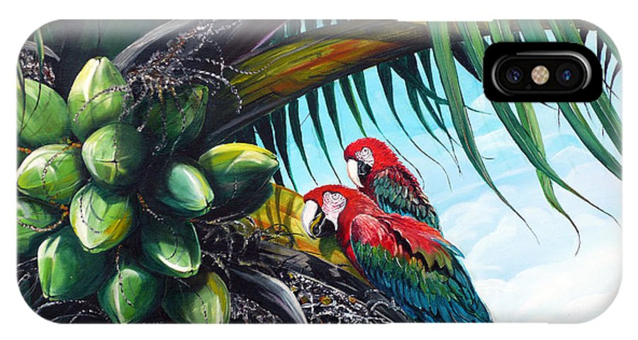Macaws Bird Painting Coconut Palm Tree Painting Parrots Caribbean Painting Tropical Painting Coconuts Painting Palm Tree Greeting Card Painting IPhone X Case featuring the painting Friends Of A Feather by Karin Dawn Kelshall- Best