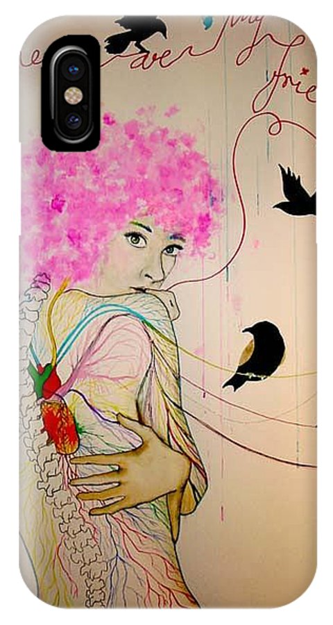 Bird Heart Veins IPhone X Case featuring the drawing Friends With Birds by Freja Friborg