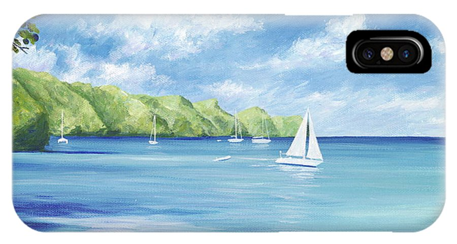 Nautical Seascape IPhone X Case featuring the painting Friendship Bay by Danielle Perry