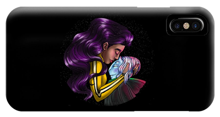 Alien IPhone X Case featuring the painting Friendship by Jasneet Samra