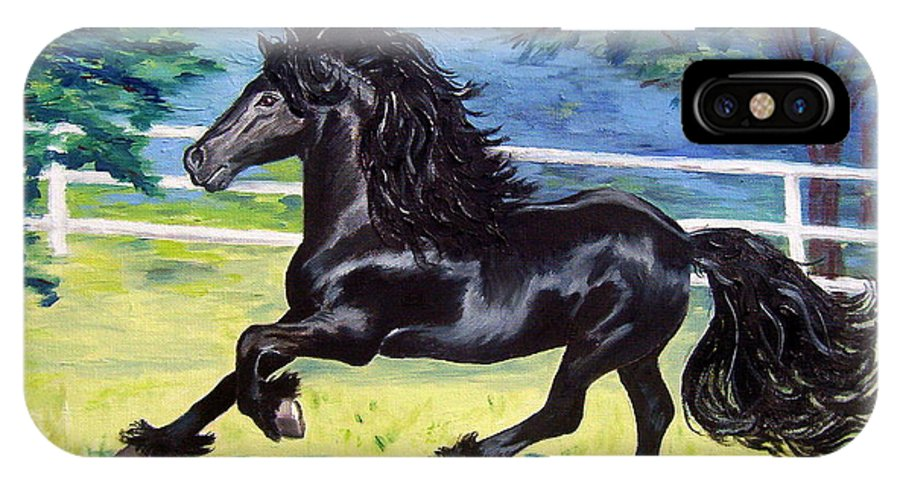 Friesian IPhone X Case featuring the painting Friesian, Run Like The Wind by Lisa Rose Musselwhite