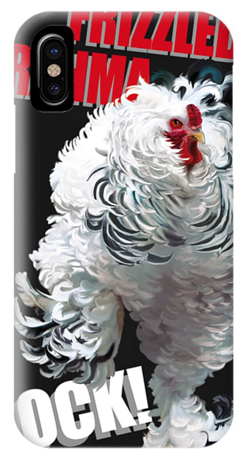 Frizzled Brahma Light Brahma IPhone X Case featuring the digital art Frizzled Brahma T-shirt Print by Sigrid Van Dort