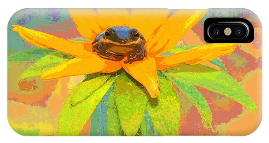 Frog IPhone X Case featuring the photograph Frog A Lilly 2 - Photos Bydebbiemay by Debbie May