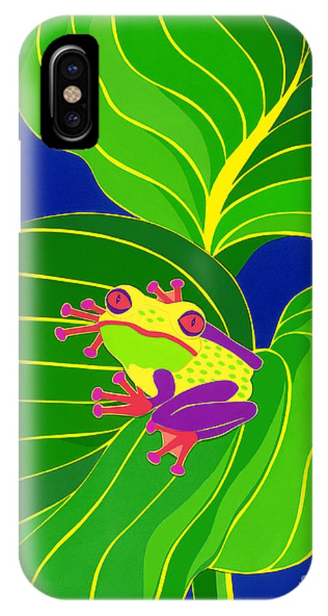 Nature IPhone X Case featuring the drawing Frog On Leaf by Lucyna A M Green
