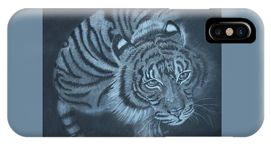 Tiger IPhone X Case featuring the drawing From Above by Kylie Jo Greshik