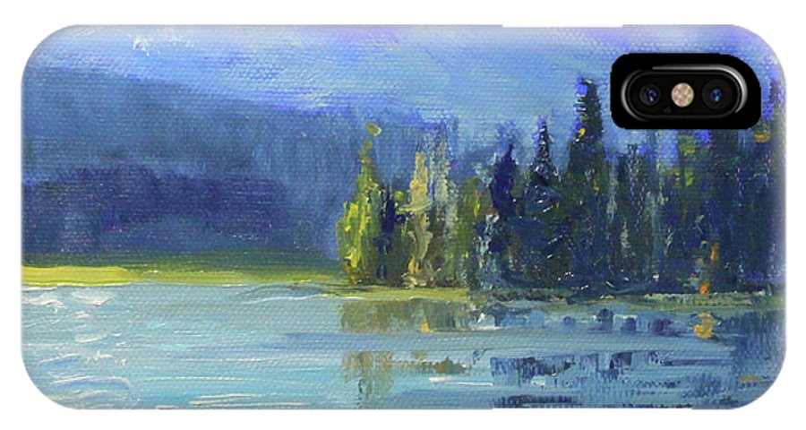 Oregon Landscape Painting IPhone X Case featuring the painting From Sparks Lake by Nancy Merkle