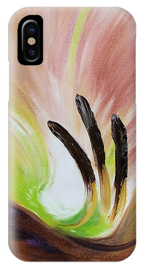 Brown IPhone X Case featuring the painting From The Heart Of A Flower Brown 3 by Gina De Gorna