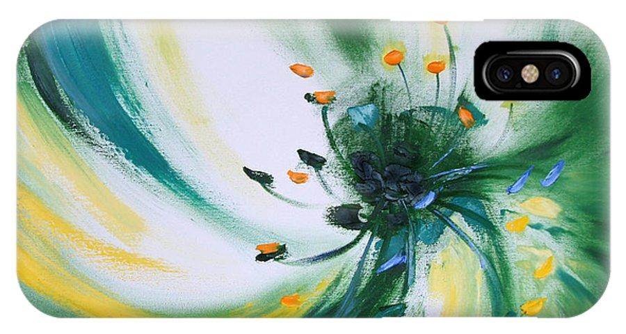 Green IPhone X Case featuring the painting From The Heart Of A Flower Green by Gina De Gorna