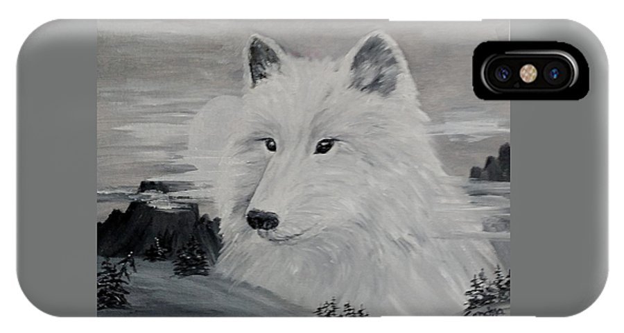 White Wolf IPhone X Case featuring the painting From The Mist Of The Moon by Sandra Maddox