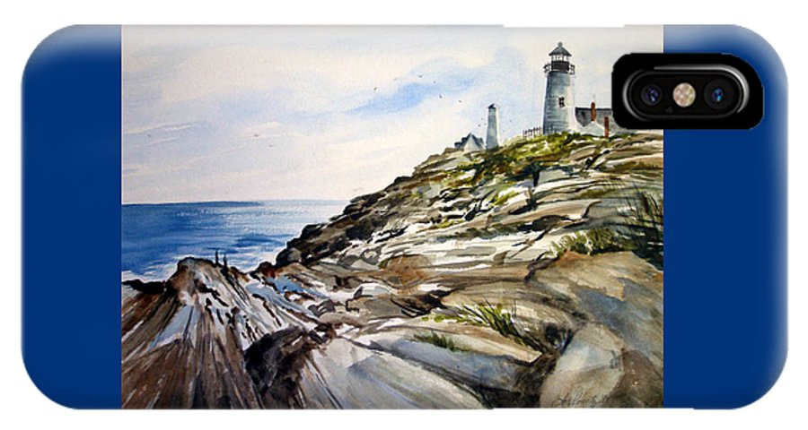 Pemaquid Light House;rocks;ocean;maine;pemaquid;light;lighthouse; IPhone X Case featuring the painting From The Rocks Below by Lois Mountz