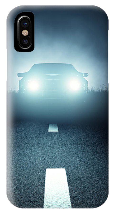 Car IPhone X Case featuring the digital art Front Car Lights At Night On Open Road by Johan Swanepoel