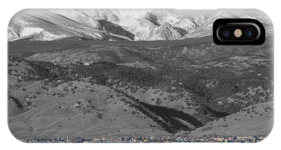 Selective Color IPhone X Case featuring the photograph Front Range View North Boulder Colorado by James BO Insogna