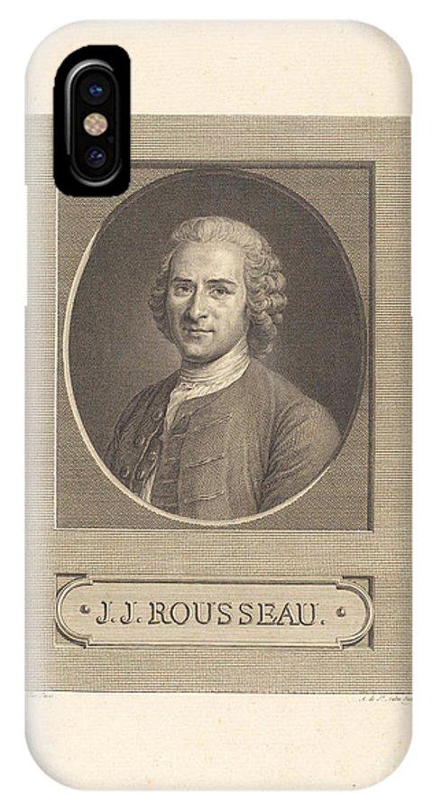 IPhone X Case featuring the drawing Frontispiece: J.j. Rousseau by Augustin De Saint-aubin After Maurice-quentin De La Tour