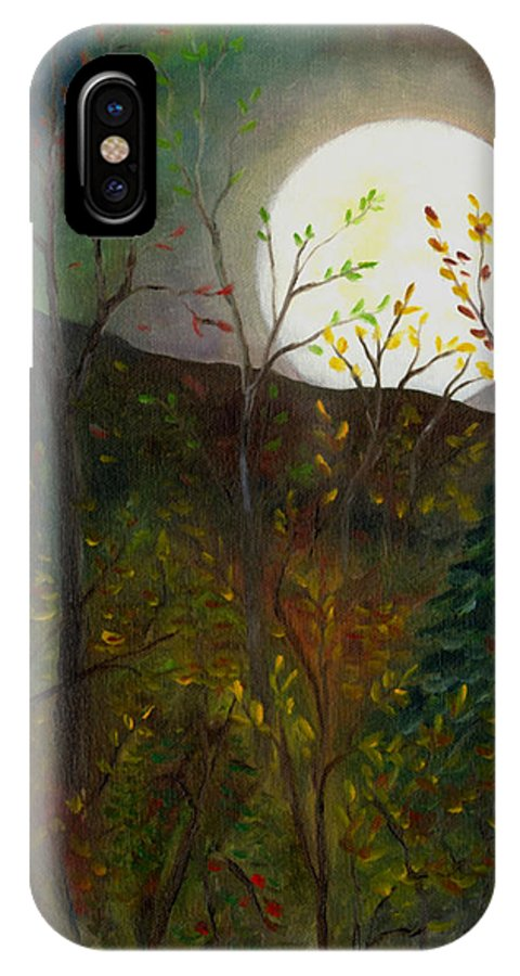 Autumn IPhone X Case featuring the painting Frost Moon by FT McKinstry