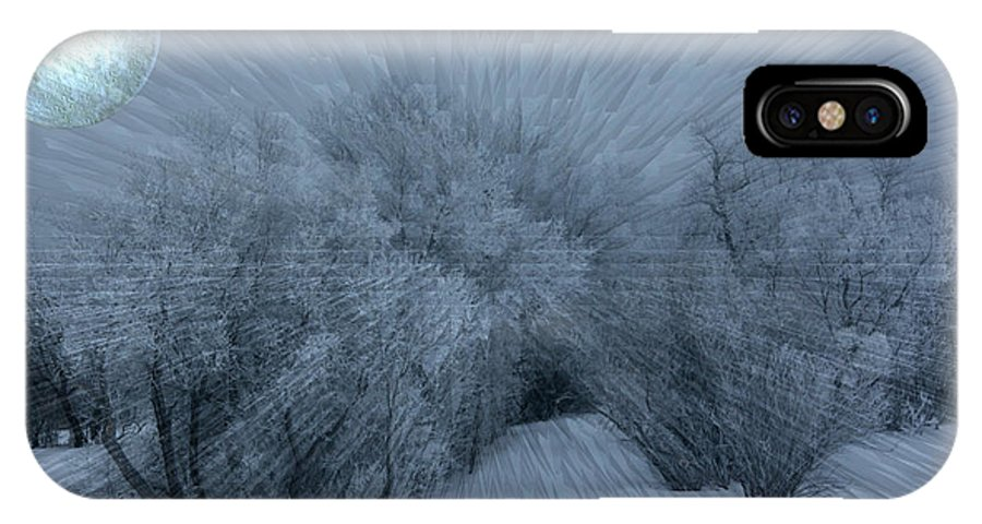 Moon Hoar Frost Trees Sky Winter Snow Cold Fog Lunar IPhone X Case featuring the photograph Frosted Moon by Andrea Lawrence