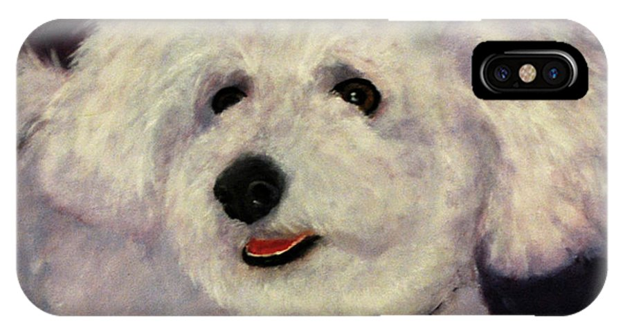 White IPhone X Case featuring the painting Frosty by Carolyn Shireman