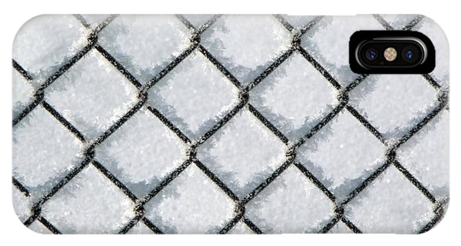 Frost IPhone X Case featuring the photograph Frosty Fence by RiaL Treasures