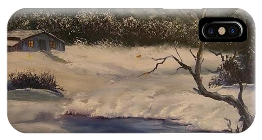 Landscape IPhone X Case featuring the painting Frozen Lake by Zoraida Cortes