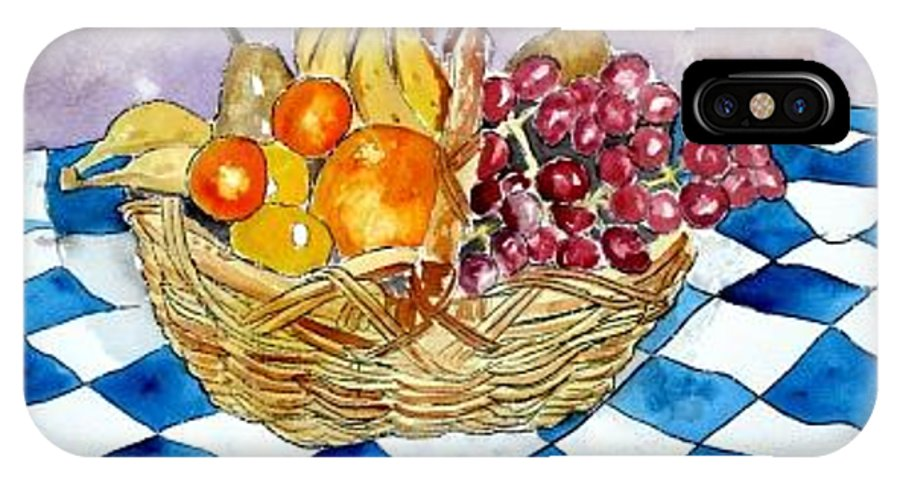 Fruit Basket IPhone X Case featuring the painting Fruit Basket Still Life 2 Painting by Derek Mccrea