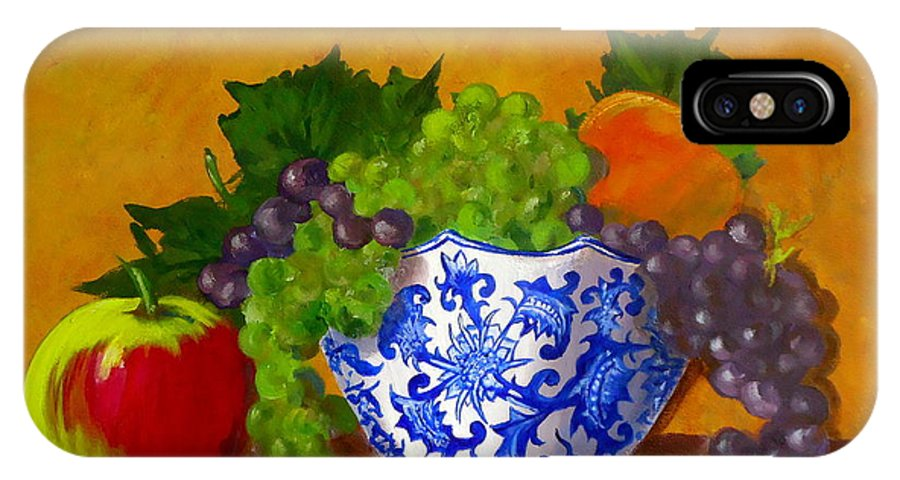 Still Life IPhone X Case featuring the painting Fruit Bowl II by Pete Maier