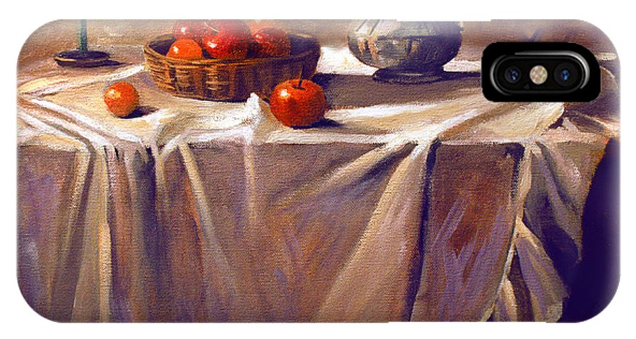 Still Life IPhone X Case featuring the painting Fruit By Candle Light by Nancy Griswold