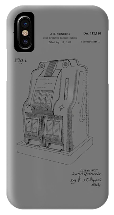 Fruit; Machine; Patent; 1938; Casino; Bar; Pub; Game; Slot; Money; Spin; Pull; Invention; Fashion; Designer; Design; Abstract; Brand; T-shirt; Hoodies; Patent Illustration; Crafts; Blueprint; Collectable; Vintage Patent; Nostalgia; Technical Illustration; Patent Drawing; Exclusive Rights; Rights; Drawing; Illustration; Presentation; Vintage; Gift; Diagram; Antique; Patentee; Men's; Men; Women; Women's; Boy; Girl; Patent Application; Home Decor; Grunge; Parchment; Old; Graphic; Chris Smith IPhone X Case featuring the photograph Fruit Machine Patent 1938 by Chris Smith
