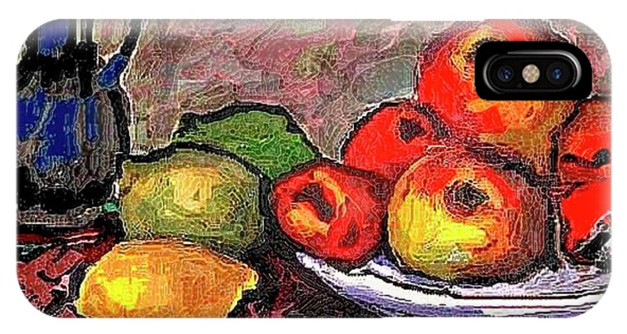 Modern Painting IPhone X Case featuring the painting Fruit by Pemaro