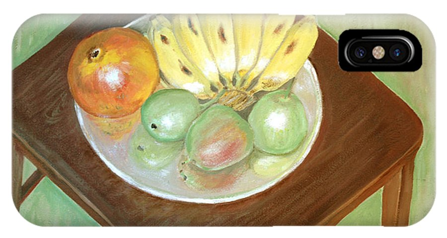 Fruits IPhone X Case featuring the painting Fruit Plate by Usha Shantharam