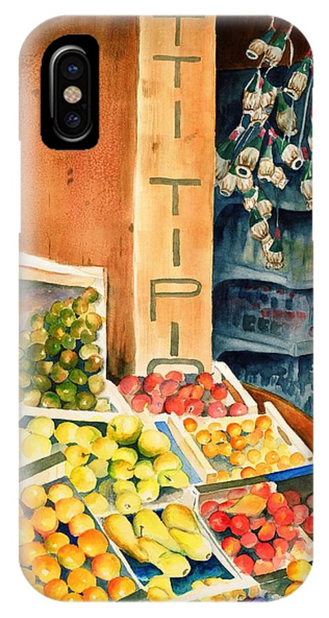 Fruit Shop Window IPhone X Case featuring the painting Fruit Shop In San Gimignano by Judy Swerlick
