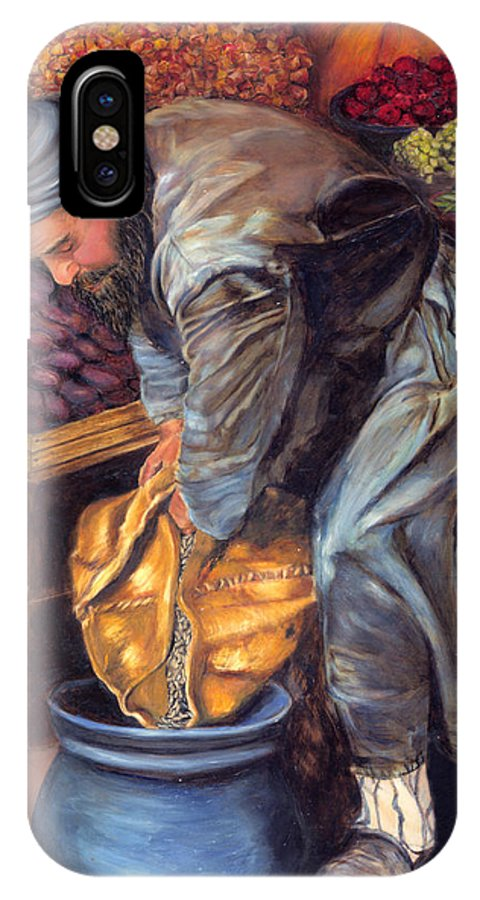 Figurative Painting IPhone X Case featuring the painting Fruit Vendor by Portraits By NC