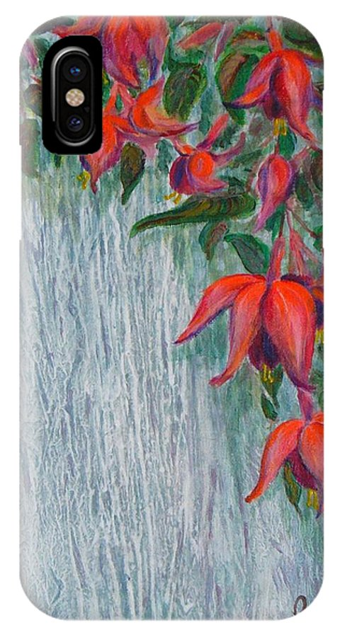 Flowers IPhone X Case featuring the painting Fuchsia On The Fence by Peggy King