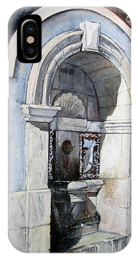 Fuente IPhone X Case featuring the painting Fuente Castro Urdiales by Tomas Castano