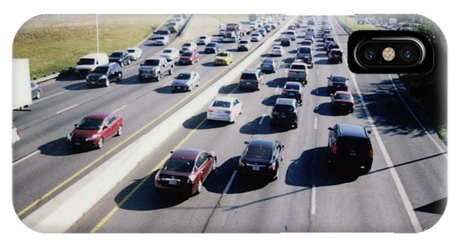 Fujifilm Instax IPhone X Case featuring the photograph Fujifilm Instax Instant-film Picture Of Ih-35 Rush Hour Traffic by Herronstock Prints