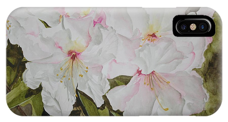 Flowers IPhone X Case featuring the painting Full Bloom by Jean Blackmer