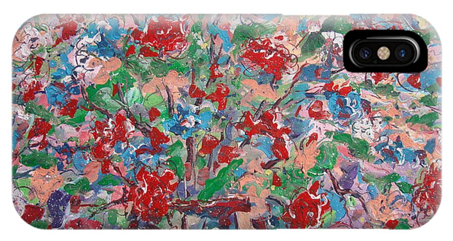 Painting IPhone X Case featuring the painting Full Bloom. by Leonard Holland