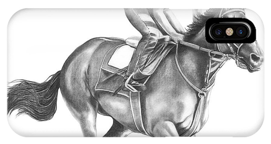 Horse IPhone X Case featuring the drawing Full Gallop by Murphy Elliott