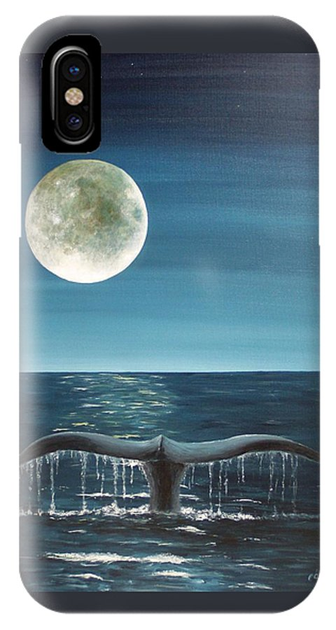 Whale IPhone X Case featuring the painting Full Moon Fluke by Patti Bean