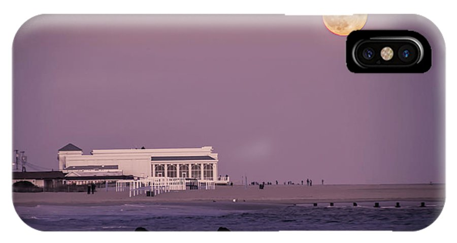 Full IPhone X Case featuring the photograph Full Moon Over Cape May by Bill Cannon