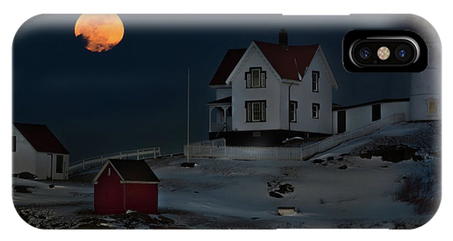 Full Moon IPhone X Case featuring the photograph Full Moon Over Nubble by Jonathan Steele