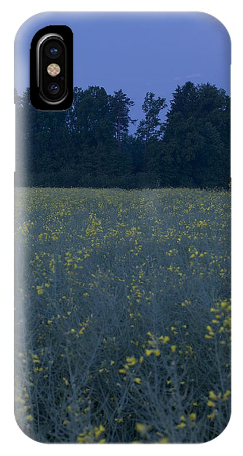 Full IPhone X Case featuring the photograph Full Moon Setting Over Rapeseed Field by Ian Middleton