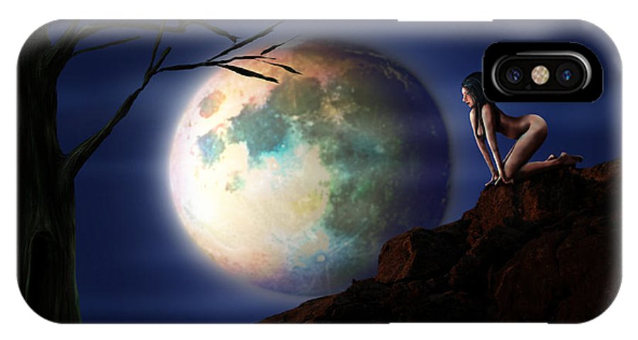 Moon IPhone X Case featuring the digital art Full Moon by Virginia Palomeque