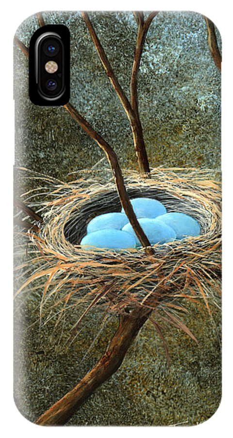 Birds Nest IPhone X Case featuring the painting Full Nest by Frank Wilson